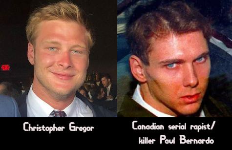 Christopher Gregor side-by-side with serial rapist/killer Paul Bernardo