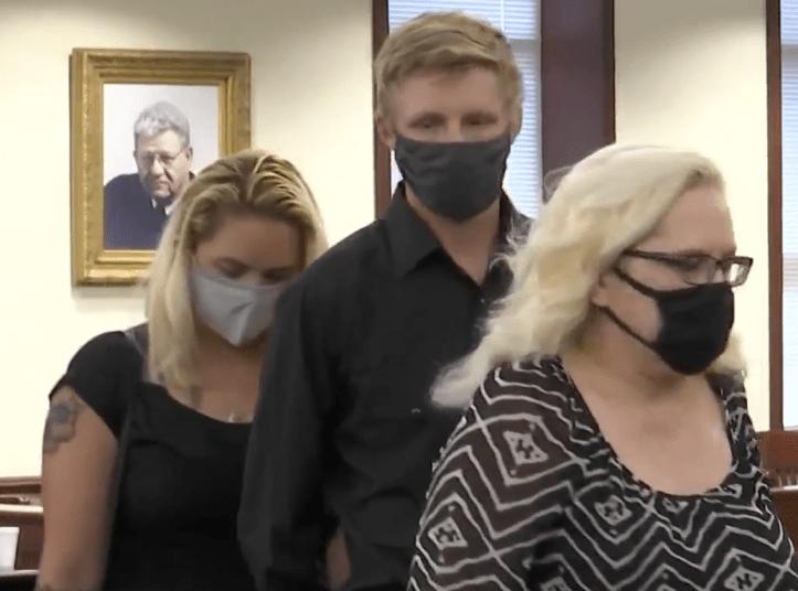 Abigail Neiger-Bickham and family entering plea hearing of Zachary Littell