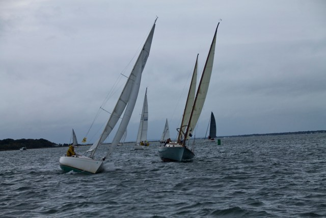Two boats reposition themselves just before the annual Whitebread race Saturday morning. (Credit: Paul Squire)