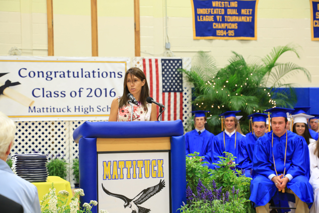 Jennifer Foster is the guest speaker from the class of 1991. (Credit: Krysten Massa)