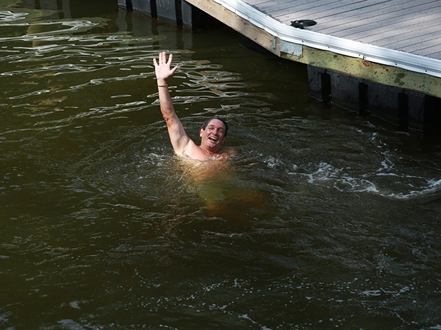 Jeff Strong after jumping in the water.