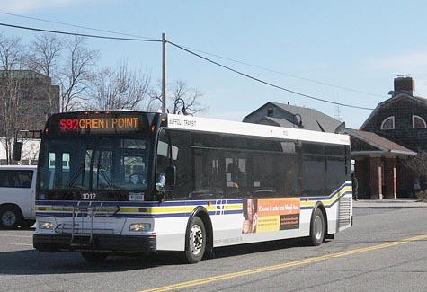 BARBARAELLEN KOCH PHOTO Suffolk County transit bus S92 on Railroad Avenue in Riverhead.