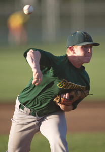GARRET MEADE PHOTO | Center Moriches pitcher Mike O'Reilly, a former Shoreham-Wading River High School star, had eight strikeouts in seven innings.