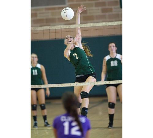GARRET MEADE PHOTO   Fiona Nunez supplied Bishop McGann-Mercy with 15 service aces, 8 kills and a dink against Greenport/Southold.