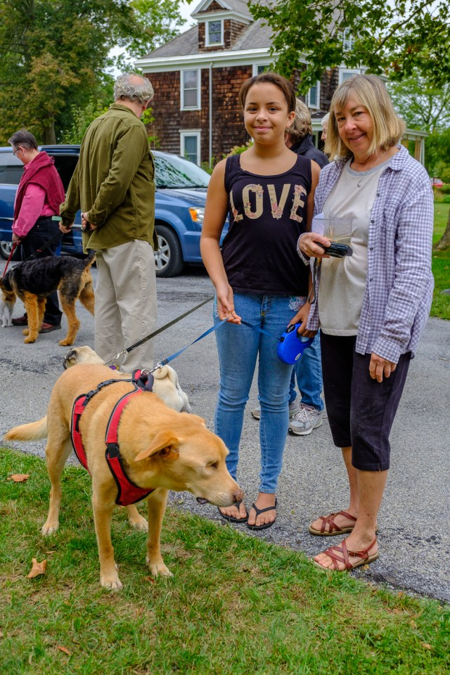 Ayda and Mary Ellen Terry of Orient with Jonah, their yellow lab. (Credit: Jeremy Garretson)