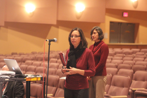 JENNIFER GUSTAVSON PHOTO | Carolyn Fahey of the county economic development department addressed the Southold School Board Wednesday night to discuss a new business tax incentive.