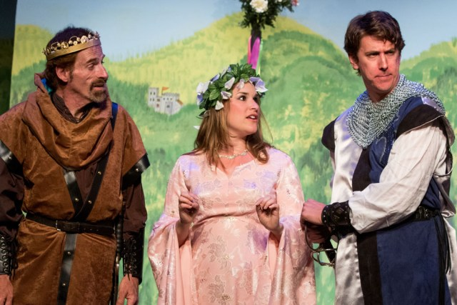 Rusty Kransky (from left), Kelsey Cheslock and Brett Chizever play Arthur, Guenevere and Lancelot in North Fork Community Theatre's production of 'Camelot.' (Credit: Katharine Schroeder)