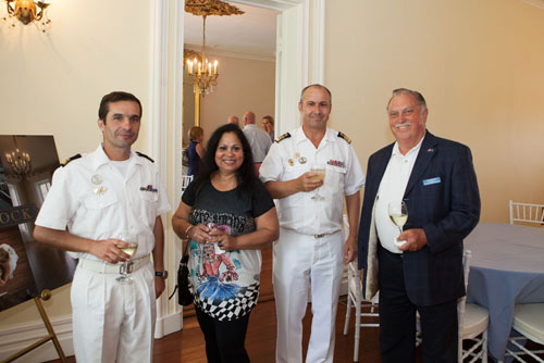 From left, Humberto Rocha, executive officer of the Sagres; guest Selma de Silva; Paulo Portugal, Commanding Officer of Sagres; Ron Bruer from the East End Seaport Museum. (Credit: Katharine Schroeder photos)