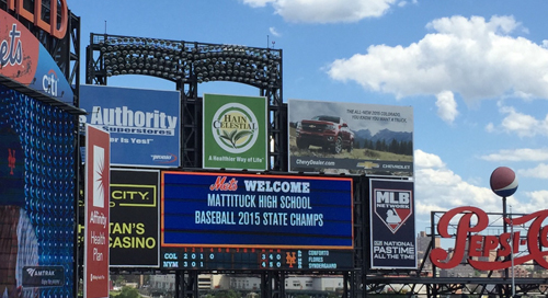 Members of Mattituck High School's state champion baseball team were welcomed by the New York Mets on the Citi Field scoreboard. (Credit: Courtesy photo)