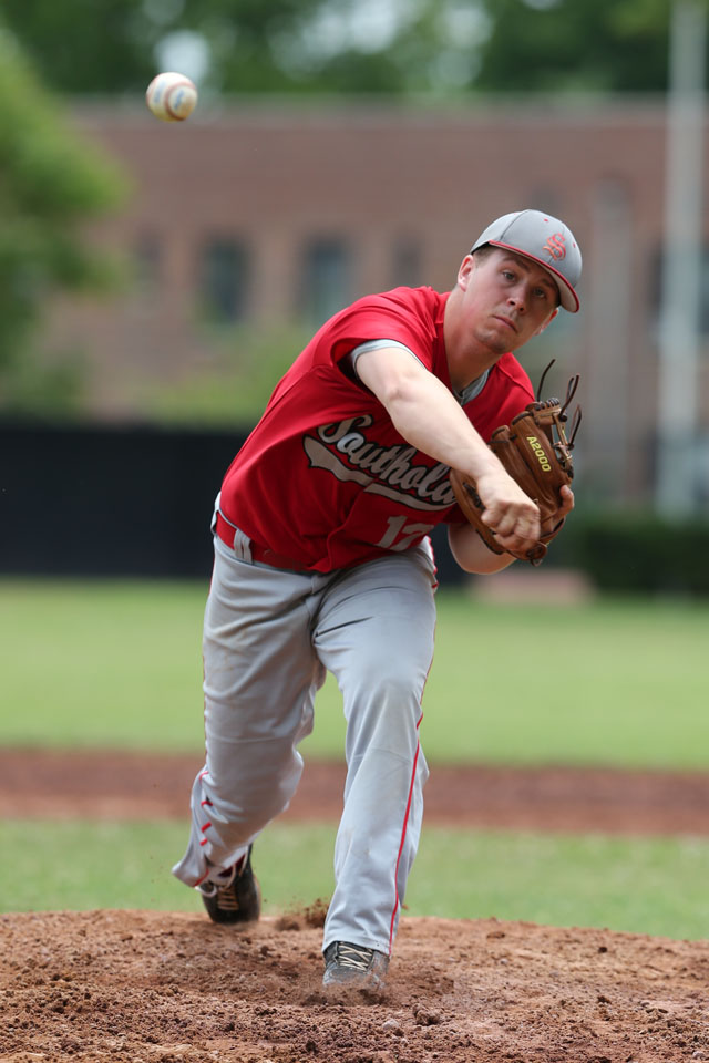 Alexander Poliwoda pitched a complete game as Southold defeated Tuckahoe 8-5  in the Class C Baseball Regional Championship game at  Mamaroneck High School in Mamaroneck. (Credit: Daniel De Mato)