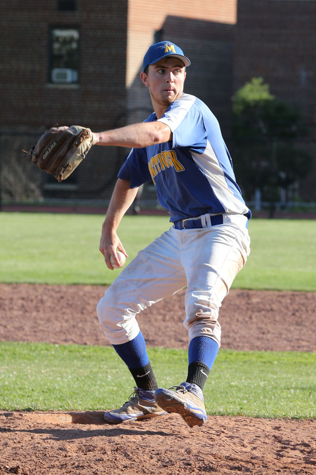 Relief Pitcher Chris Dwyer finished the game for Mattituck. (Credit: Daniel De Mato)