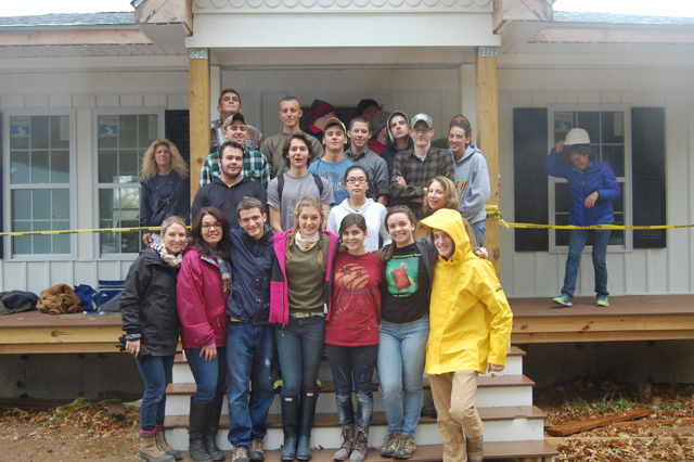 The group of seniors and teachers who spent the day working with Habitat for Humanity on Wednesday (Credit: Nicole Smith).