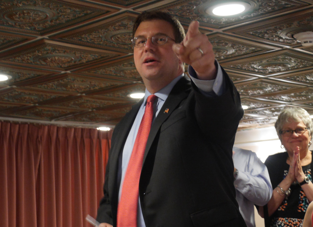 Congressional candidate Dave Calone address supporters at his primary night gala at the Meadow Club in Port Jefferson Station late Tuesday night. (Credit: Krysten Massa)