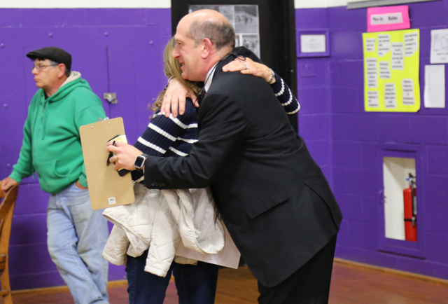 Greenport superintended David Gamberg celebrates the district's budget approval Tuesday. (Credit: Nicole Smith)