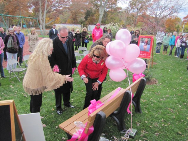 The Buddy Bench was presented to the Doorhy family Friday. (Credit: Tim Gannon)
