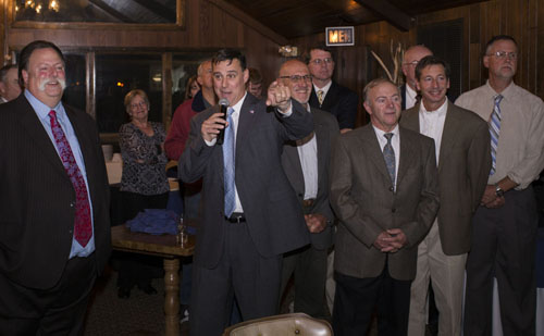 KATHARINE SCHROEDER PHOTO | Republican candidates celebrate a largely victorious election night at the Soundview Inn in Greenport.