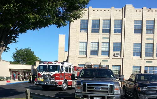 JENNIFER GUSTAVSON PHOTO   A fire was reported at Greenport School Thursday.