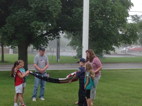 Flag Day ceremony at Oysterponds Elementary School. (Credit: )