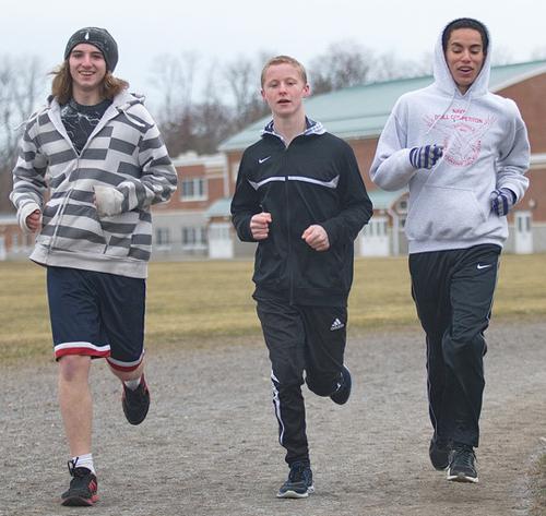 GARRET MEADE PHOTO | From left, three Greenport freshmen — Nick Wallace, Justin Bracken and Bayron Rivas — during Monday's practice.