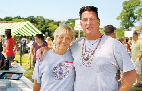 Greenport High School grads Joan Dinizio and Tom Krumenacker at the first all-class reunion in 2012. (Credit: Jennifer Gustavson, file)
