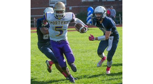 ROBERT O'ROURK PHOTO | Gene Allen of Greenport/Southold/Mattituck breaking away from a pair of Stony Brook defenders.