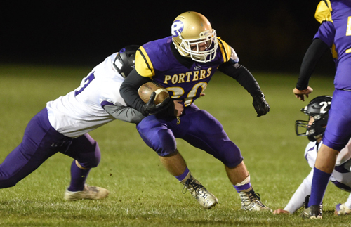 Tristin Ireland returning a kickoff for Greenport/Southold/Mattituck on Friday night against Port Jefferson. (Credit: Robert O'Rourk)