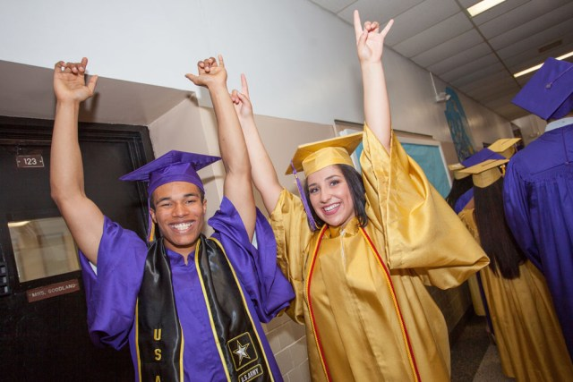 Elijah Smith and Jewel Stevens celebrate their upcoming graduation. (Credit: Katharine Schroeder)