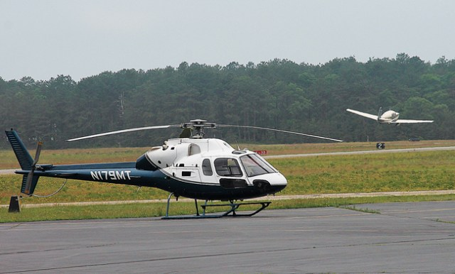 A helicopter at East Hampton Airport (Credit: Kyril Bromley/The East Hampton Press, file)