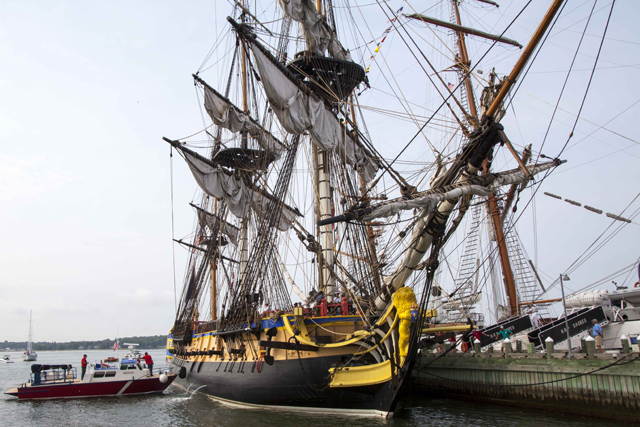 The Hermione as it first docked in Greenport Monday morning. (Credit: Chris Lisinski)