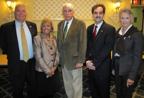Southampton Republican leader Ernest Wruck (from left), County Treasurer Angie Carpenter, Riverhead Republican leader John Galla, Southold Republican leader Denis Noncarrow, and East Hampton Republican leader Trace Duryea at Friday's screening.