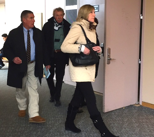 John Costello (center) plead not guilty to man slaughter in county court Tuesday. (Credit: Cyndi Murray)