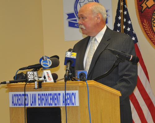CYNDI MURRAY | Det. Lt. Jack Fitzpatrick, commanding officer of the Suffolk County Homicide Unit, addresses reporters at a press conference Wednesday.