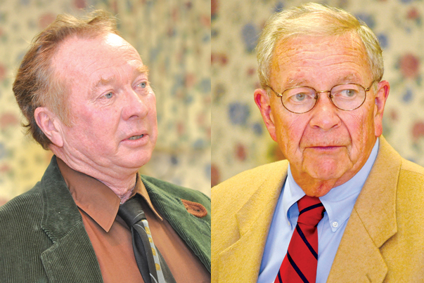 Town Trustee Jim King, left, and Judge Rudolph Bruer, right, will not seek re-election this year after serving nearly 20 years apiece. (Credit: Suffolk Times file photos)