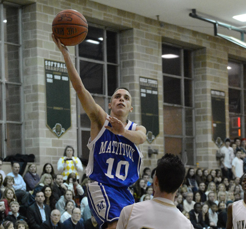 ROBERT O'ROURK PHOTO  |  Mattituck freshman Joe Tardif scored 10 points for the Tuckers and hit a crucial 3-pointer late in the game.