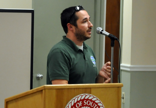 GRANT PARPAN PHOTO | Joshua Stiller of the Department of Environmental Conservation speaks at Thursday evening's deer management forum.