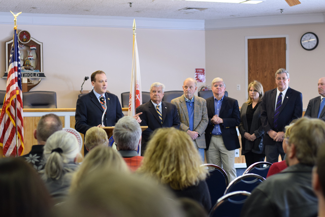 Congressman Lee Zeldin speaks to reporters and concerned members of the public at a press conference on helicopter noise at Southold Town Hall in March 2015. (Credit: Vera Chinese)