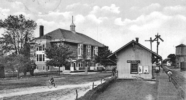 Library Hall, pictured in 1905, stood across from the Mattituck train station, at the corner of Westphalia Avenue and Pike Street. (Credit: Mattituck-Laurel Library)
