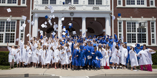KATHARINE SCHROEDER PHOTO  |  The celebration begins outside Mattituck High school Saturday afternoon following graduation.