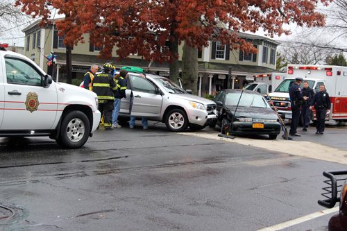JENNIFER GUSTAVSON PHOTO | The car accident scene in Mattituck shortly Friday afternoon.