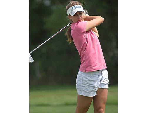 GARRET MEADE FILE PHOTO | Golfer Marie Santacroce of Mattituck, shown here practicing at Island's End Golf and Country Club in Greenport, was named to her conference All-Academic team.