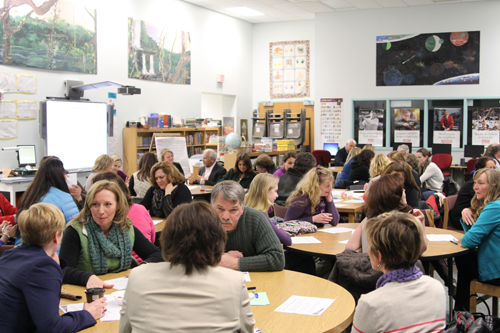 Mattituck-Cutchogue School District residents gathered Wednesday at the elementary school for a Common Core presentation. (Credit: Jennifer Gustavson)