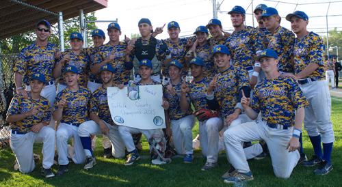 The Mattituck Tuckers (23-1) wrapped up their second straight county championship and fifth in 13 years. (Credit: Robert O'Rourk)