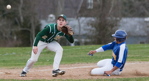 Bishop McGann-Mercy third baseman Leo Ellis awaits a throw as Mattituck's Marcos Perivolaris steals third base on the same play in which Ian Nish drew a walk. (Credit: Katharine Schroeder)