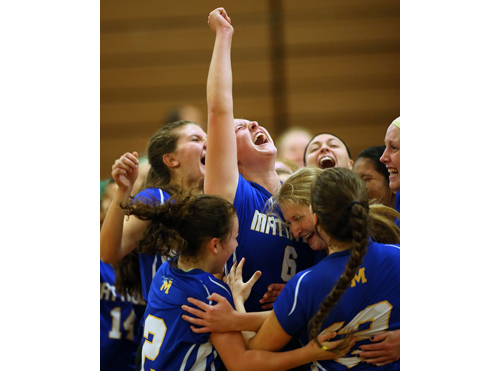 Mattituck players celebrate their semifinal victory over Greenport/Southold, which advances the Tuckers to a county final for the ninth time in 11 seasons. (Credit: Garret Meade)
