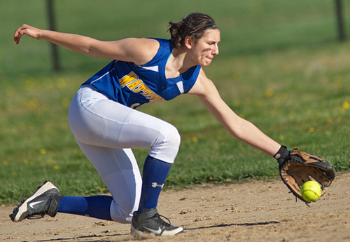 GARRET MEADE PHOTO | Mattituck shortstop Melissa Siegfried snagging the ball before throwing home for the game-ending out.
