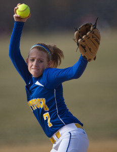 GARRET MEADE FILE PHOTO | The state of pitcher Sara Perkins' left knee could be critical to Mattituck's success this year.