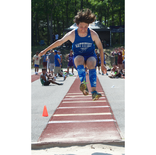 Mattituck's Jack Dufton turned in a personal record in the long jump and three other events to help him to a second-place finish in the pentathlon. (Credit: Robert O'Rourk)