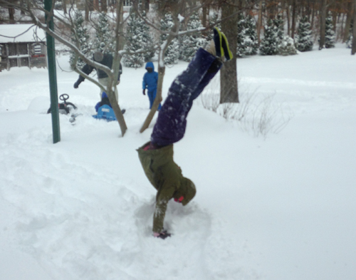 Suffolk Times reader Molly Waitz does a handstand in the snow in Mattituck.