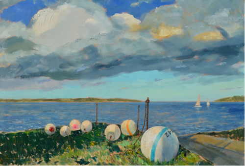 """"""" New Suffolk Moorings"""" 30 X 40 Oil on Canvas (Credit: Courtesy)"""