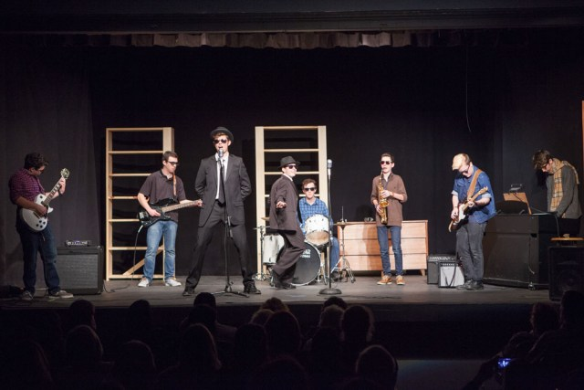 """From left, Mark Moran, Connor Vaccariello, Dimitris Niflis, Sam Basel, James Thilberg, Keaton Comiskey and Patrick Connoly perform """"Everybody Needs Somebody to Love."""""""